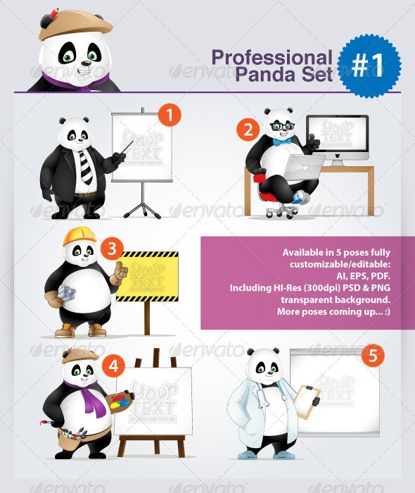 Professional Panda (Occupational) Set - Part 1 - Animals Characters