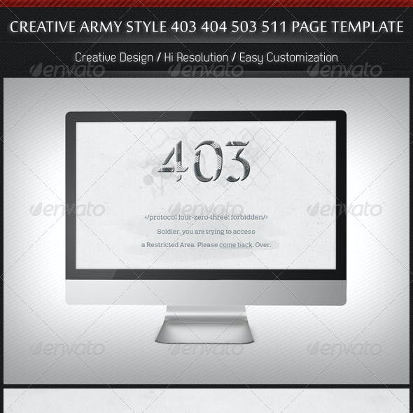 Creative Army Style 403 404 503 511 Page Template