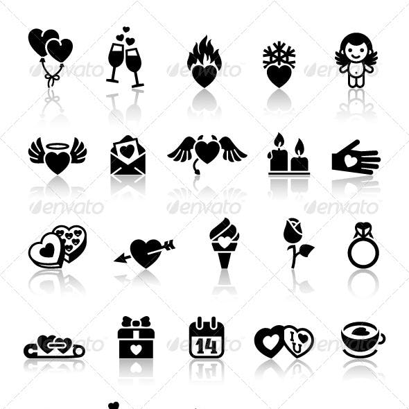 Set love icons