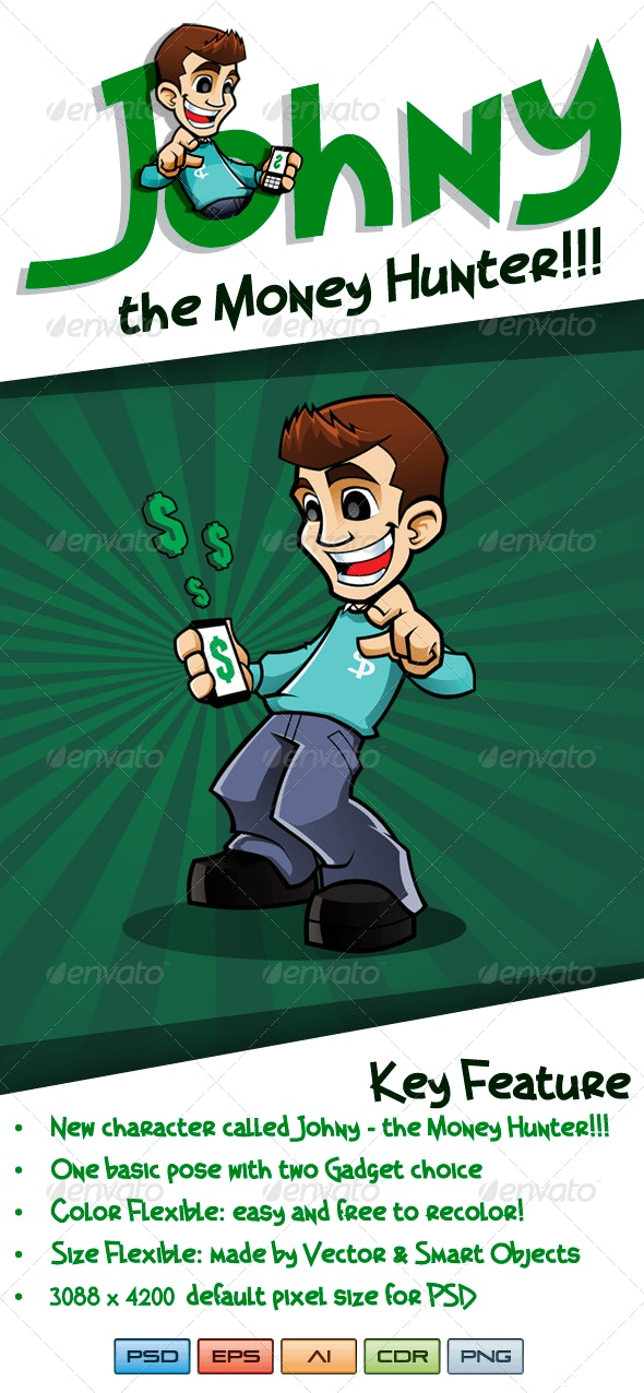 Johny the Money Hunter - Teen Character - Characters Illustrations