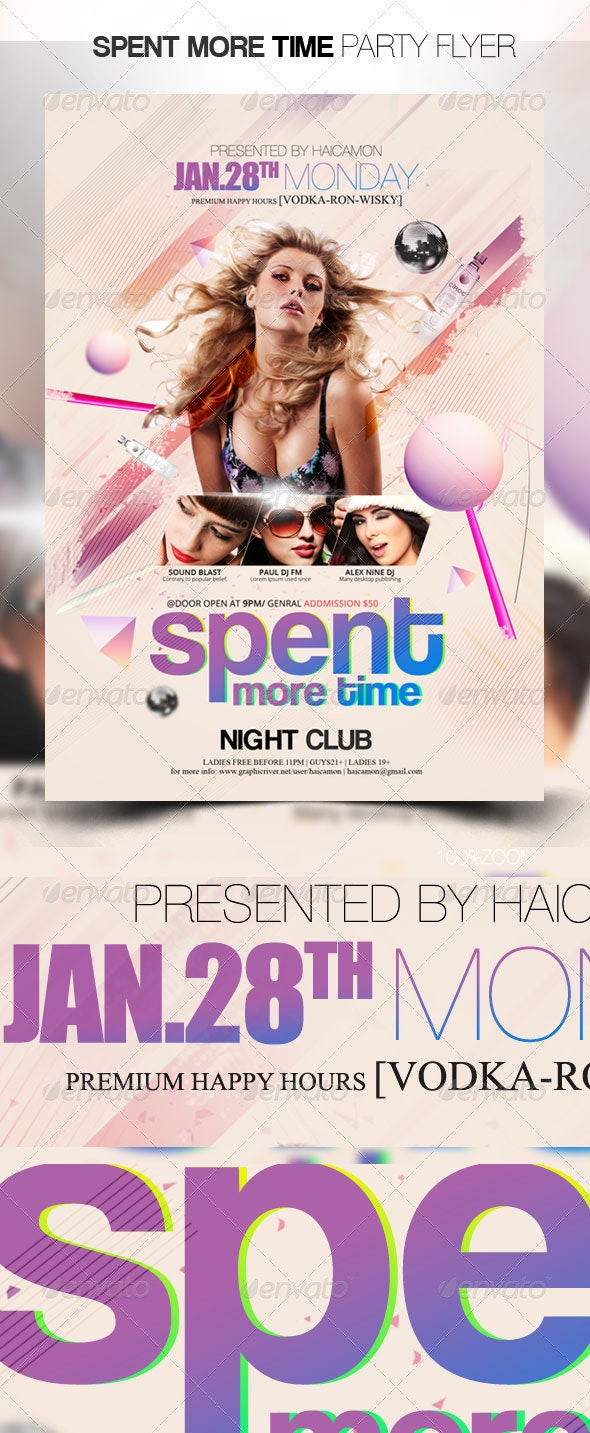 Spent More Time Party Flyer - Clubs & Parties Events