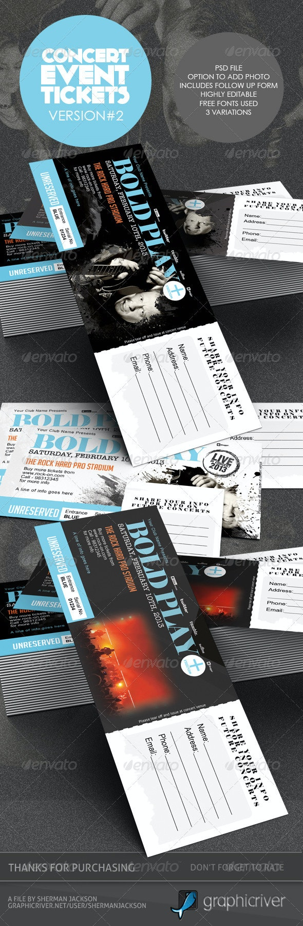 Concert & Event Tickets/Passes - Version 2 - Miscellaneous Print Templates