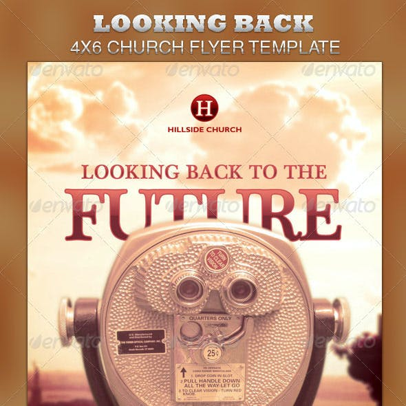 Looking Back to the Future Church Flyer Template