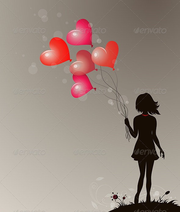 Silhouette of Girl - Valentines Seasons/Holidays