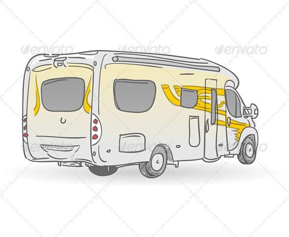 Recreational Vehicle Illustration - Travel Conceptual