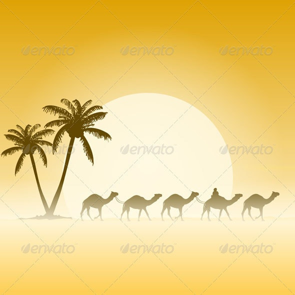 Camels and Palms - Travel Conceptual
