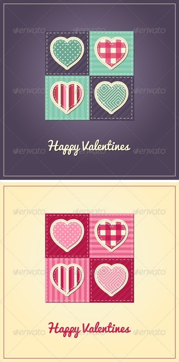 Valentines Card - Stitched Hearts - Valentines Seasons/Holidays