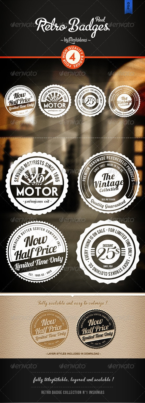 Retro Badges - Insignias - Miscellaneous Graphics