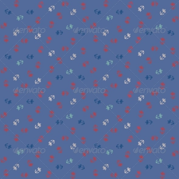 Vector Seamless Pattern - Little Colorful Flowers on Blue - Patterns Decorative