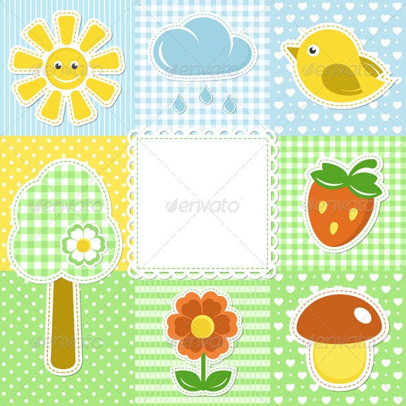 Summer Frame with Flower Strawberry and Bird - Decorative Symbols Decorative