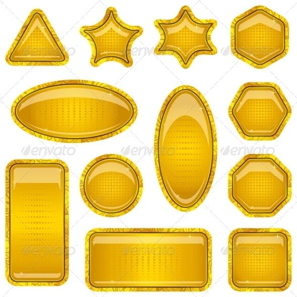 Set of Gold Buttons - Web Elements Vectors