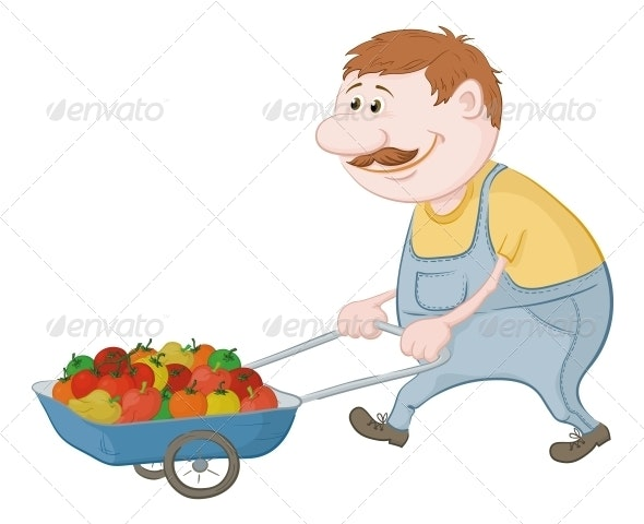 Man Driving Truck with Vegetables - People Characters