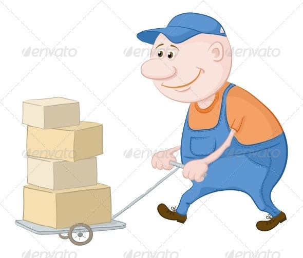 Porter Driving Truck with Boxes - People Characters
