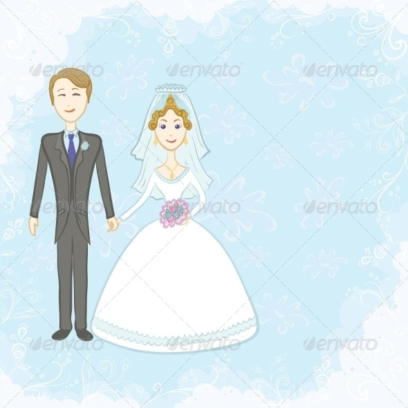 Bride and Groom on Blue Background - Weddings Seasons/Holidays