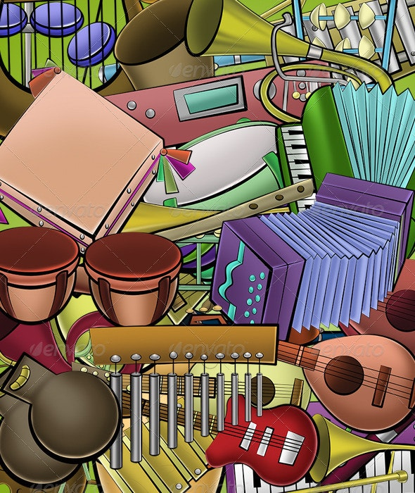 36 Cartoon Instruments Pack - Objects Illustrations