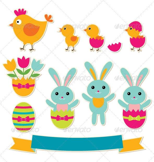 Easter Vector Sticker Set - Miscellaneous Seasons/Holidays