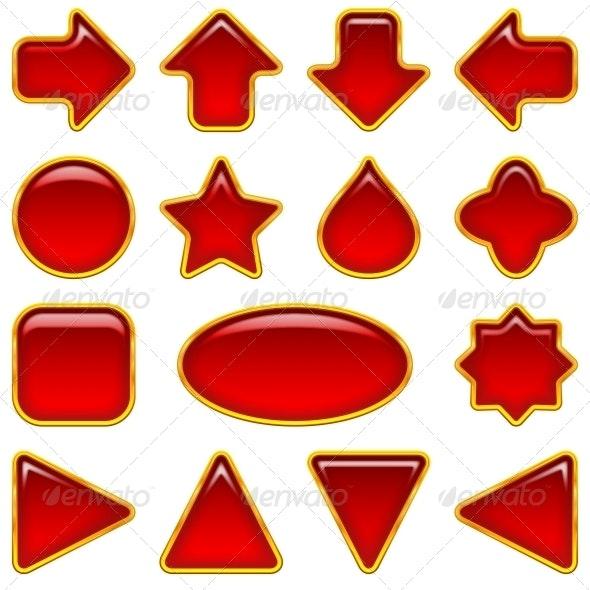 Red glass buttons, set - Web Elements Vectors