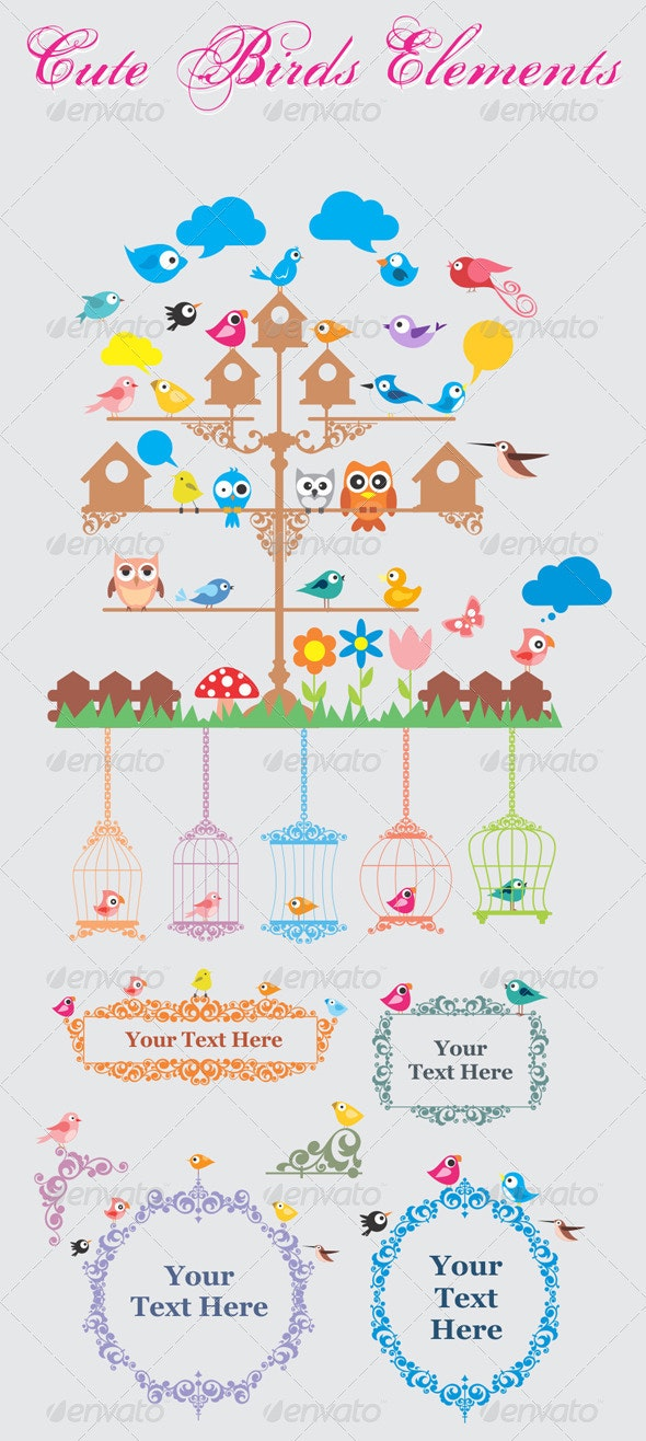 Cute Birds Elements - Animals Characters