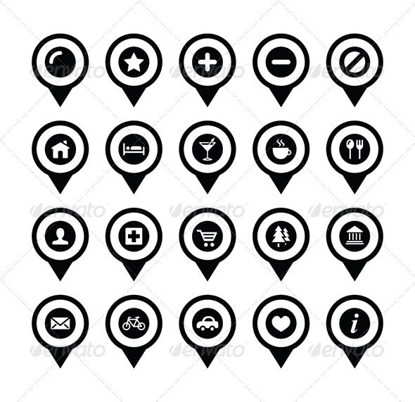 Map location markers, pointers vector icons set - Travel Conceptual