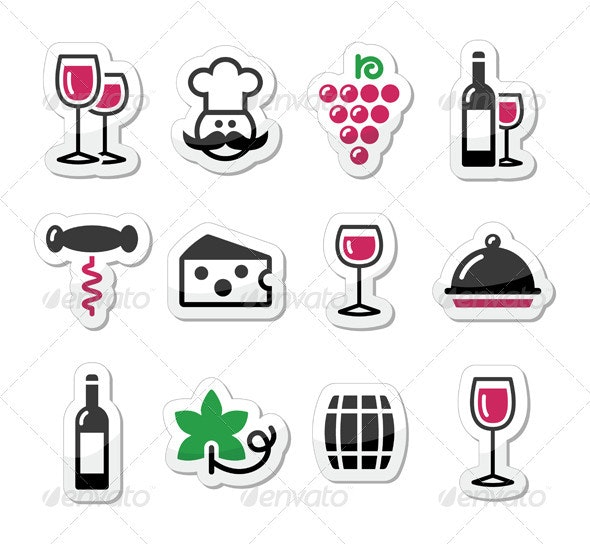 Wine icons set - glass, bottle, restaurant, food - Food Objects