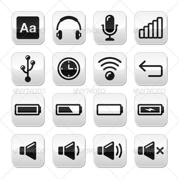 Electronic device / Computer software buttons set