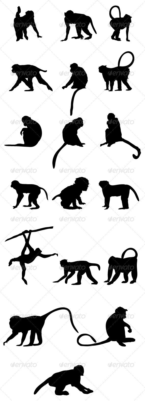 Monkey Silhouettes - Animals Characters