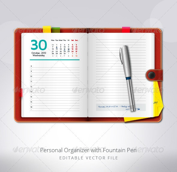 Personal Organizer with Fountain Pen - Objects Vectors