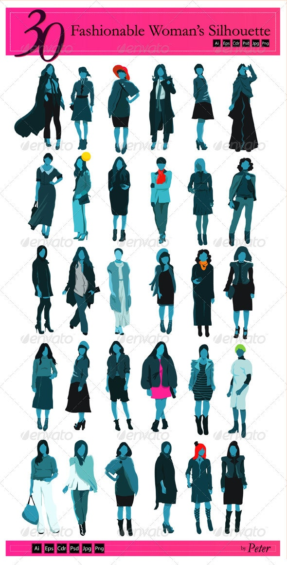 30 Fashionable Woman Silhouette - Characters Vectors