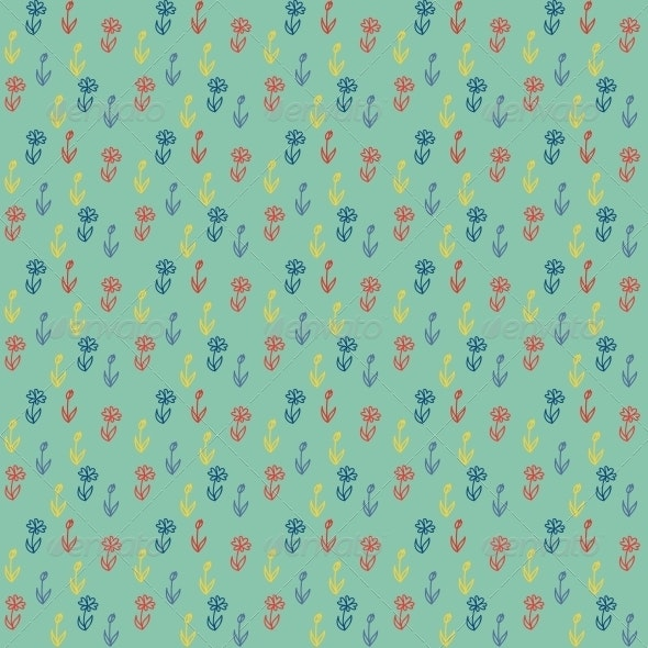 Vector Seamless Pattern - Little Colorful Flowers on Green - Patterns Decorative