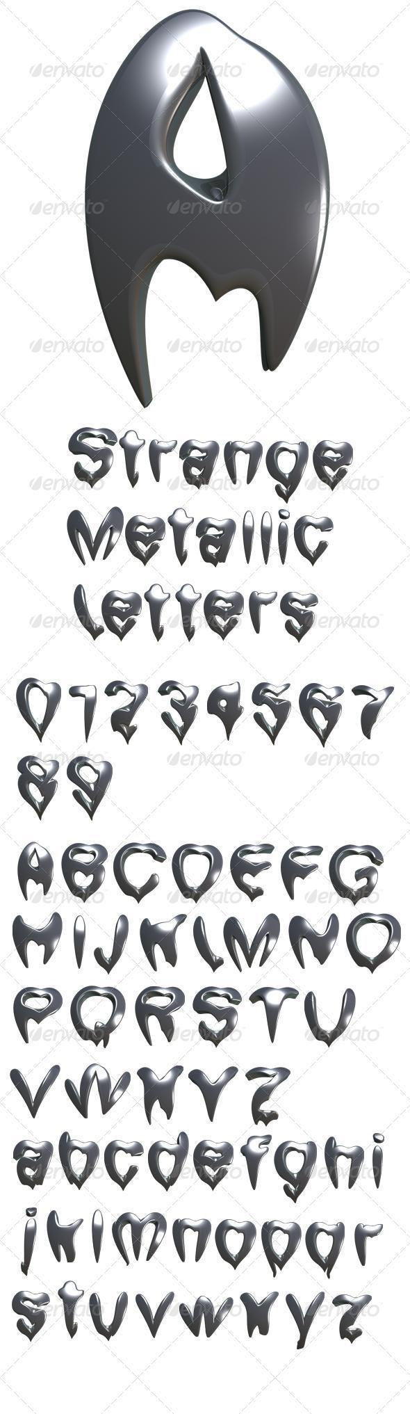 Strange Metallic Letters - Text 3D Renders