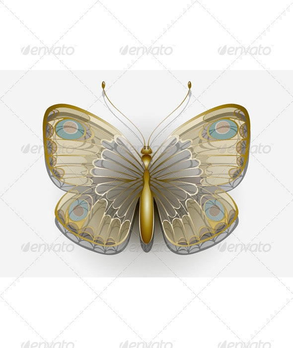 Delicate Butterfly on a White Background - Animals Characters