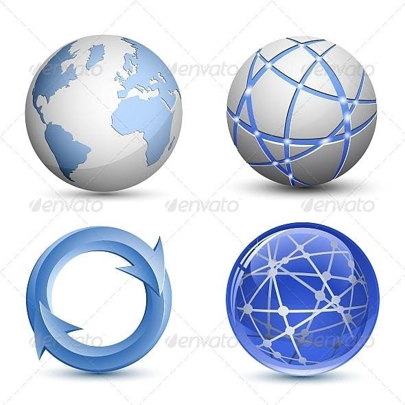 Abstract Globe Icon Set