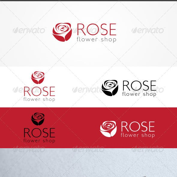 Rose Flower Shop Logo