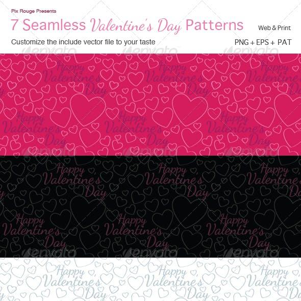 7 Seamless Vector Valentine Patterns