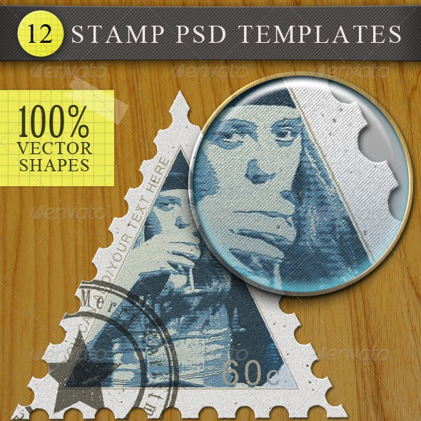 Vector Postage and Rubber Stamps PSD Templates