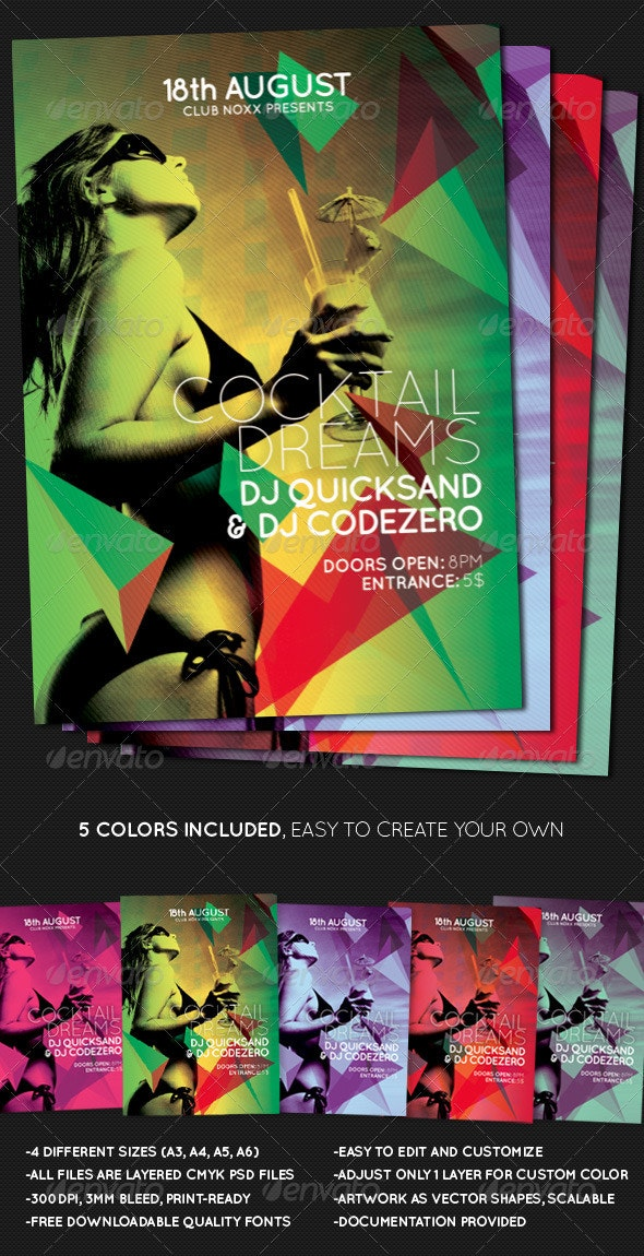Cocktail Dreams Multicolor Flyer + Poster A3 A4 A5 - Clubs & Parties Events