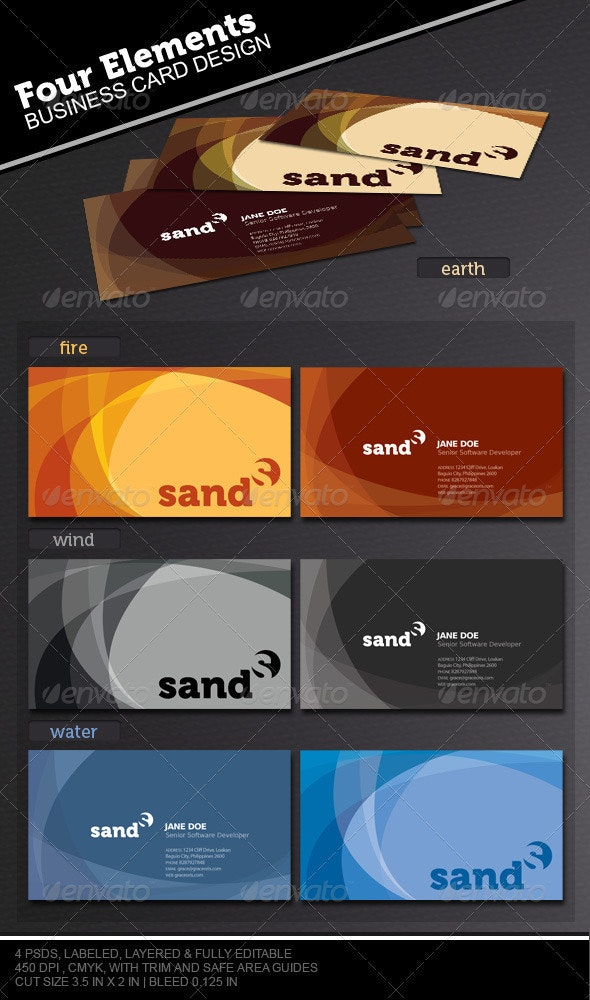 The Four Elements Business Card Set - Corporate Business Cards