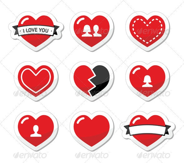 Love hearts labels set for Valentines Day - Valentines Seasons/Holidays