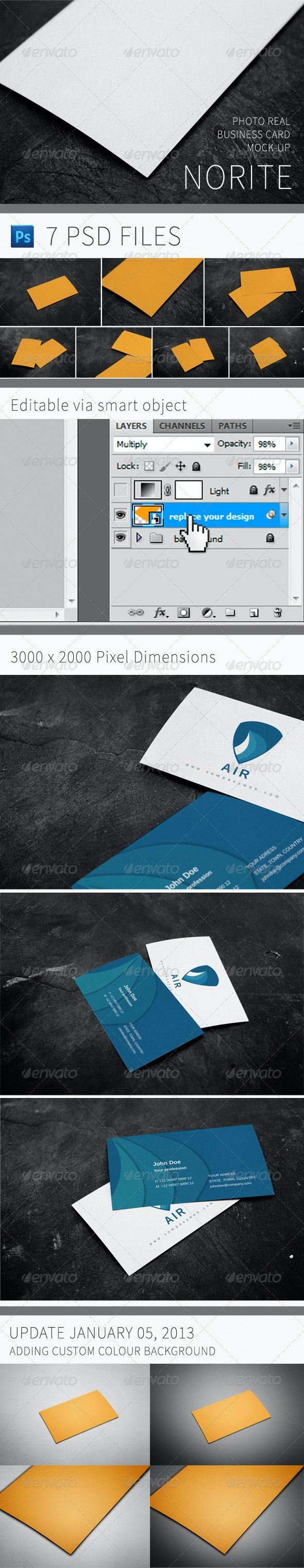 Norite - Photo Real Business Card Mock-up - Business Cards Print