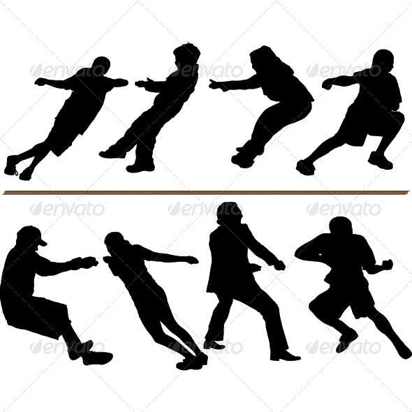 Tug of War or Rope Pulling Silhouettes
