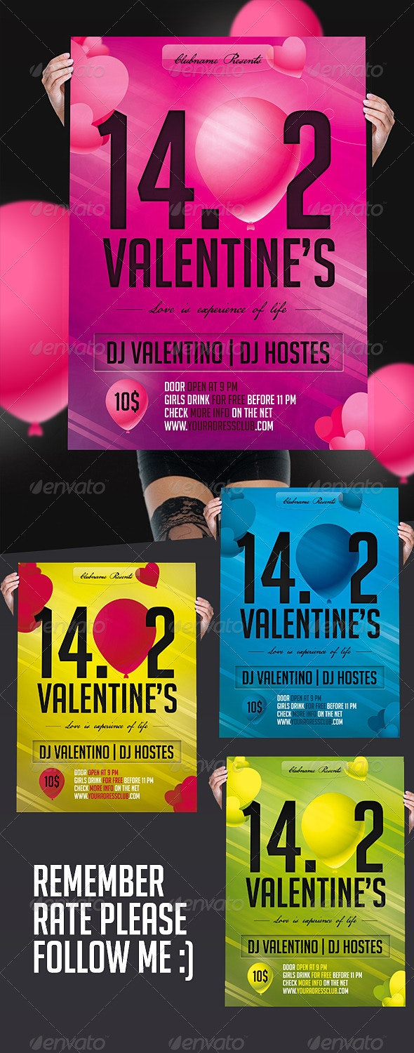 Valentine's Day's Flyer Color - Holidays Events