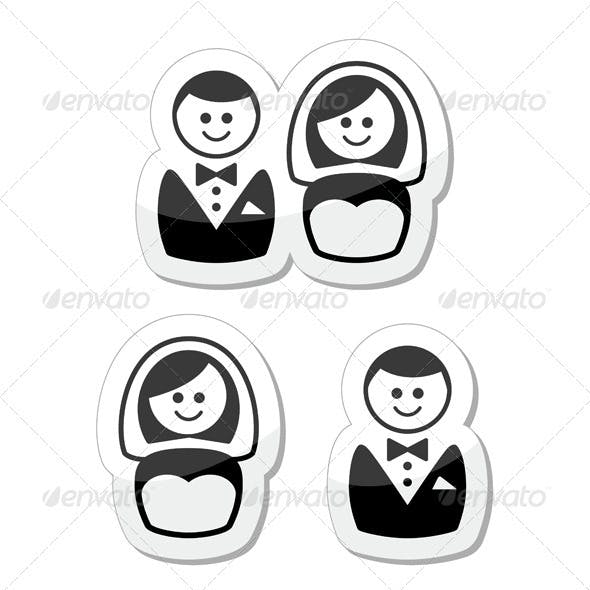 Married couple labels - groom and bride