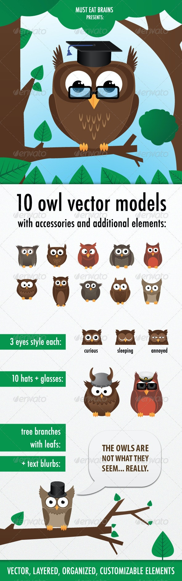 10 Owls Creation Kit - Animals Characters