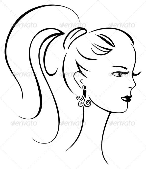 Beautiful retro girl - People Characters