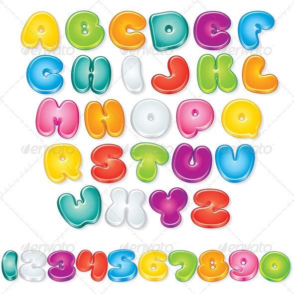 Glossy Cartoon Font - Decorative Symbols Decorative