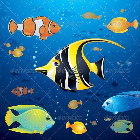 Underwater Life Vector - Animals Characters
