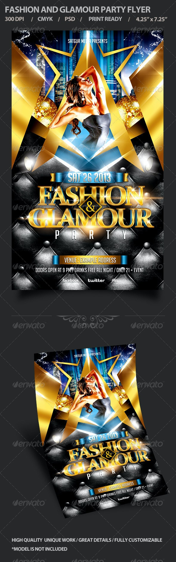 Fashion and Glamour Party Flyer - Clubs & Parties Events