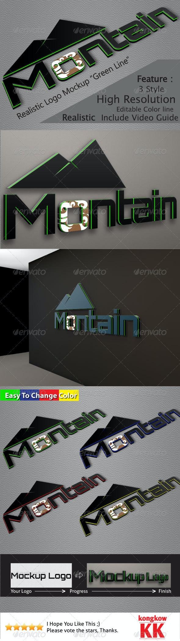 "Realistic Logo Mockups ""Green Line"" - Logo Product Mock-Ups"