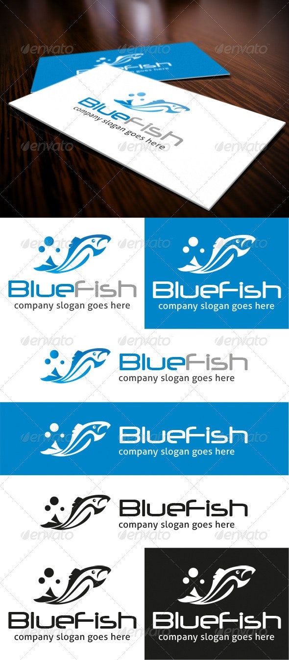 Blue Fish Logo - Animals Logo Templates