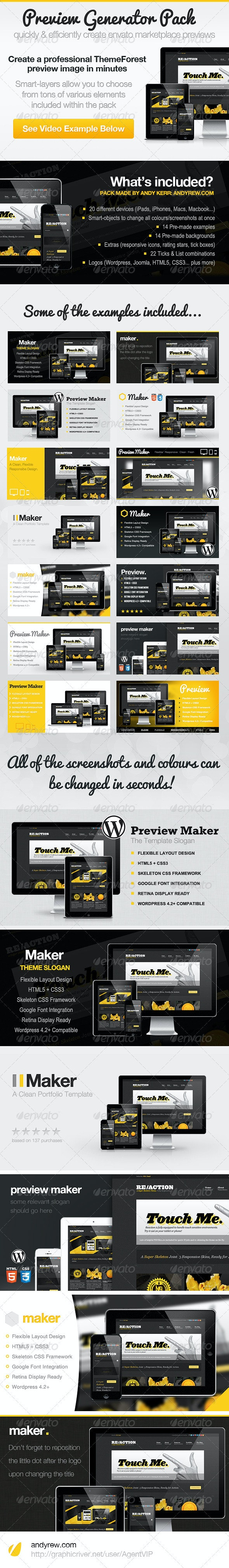 ThemeForest Preview Generator Pack - Multiple Displays